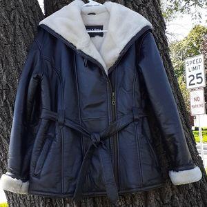 Wilsons Leather Shearling Coat Plush Warm Large